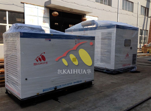 天津地产两台防雨型康明斯发电机组成功出厂 发货现场