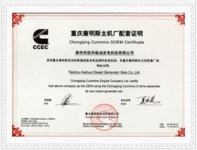 重庆康明斯OEM证书 荣誉资质